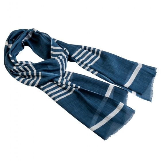 ŠAL pamučni indigo plava bijele pruge 180x50cm